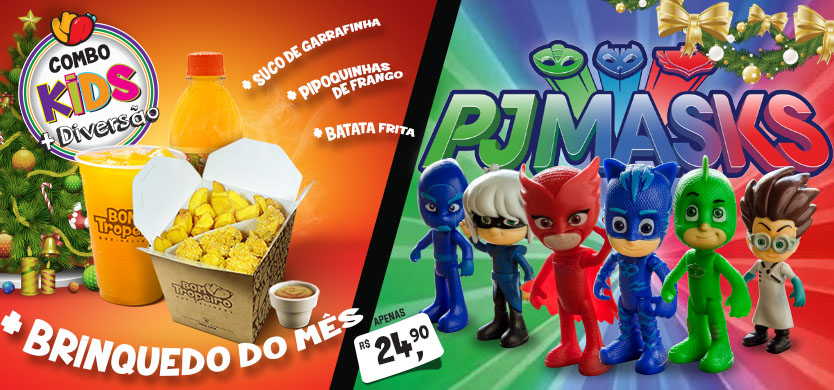 Combo Kids + Diversão de Natal. Personagens do PJ MASKS - Menino Gato, Corujita, Lagartixo, Garota Lunar, Romeu, Ninjalino
